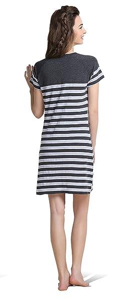 QianXiu Camisón de verano Ropa de noche de algodón para mujer Camisón de rayas Ropa de dormir de manga corta Cómodo vestido de noche Camisas de noche para ...