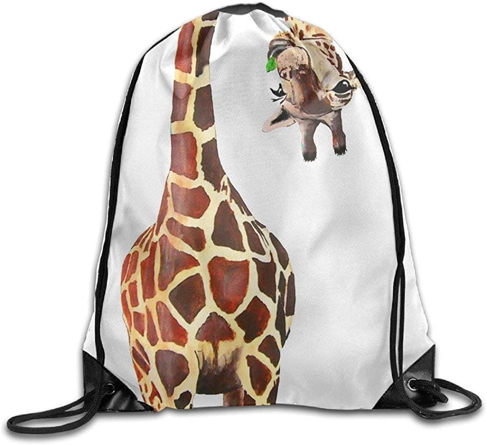 Unisex Drawstring Bags Giraffe Team Training Travel Backpack Sack Daypack