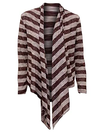 5e3a225021 1 Funwear Factory Striped Long Sleeve Flowing Shrug Sweater at Amazon  Women s Clothing store