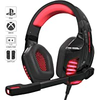 Gaming Headset Kopfhörer für PS4 / Xbox One/PC mit Mikrofon LED Licht, 3,5-mm-Headset, Omnidirektional Kompatibel (mit 2 in 1-Adapter) (Rot)