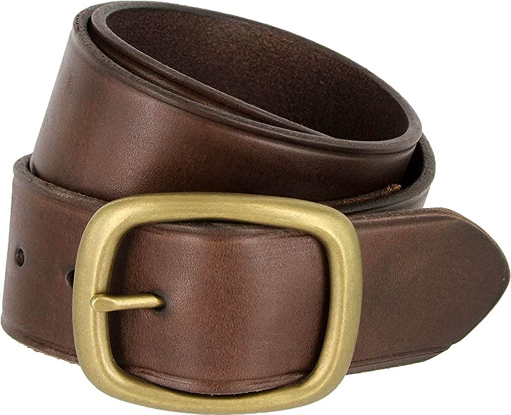 Hagora Men 1.75 Wide Tough Solid Leather Rounded Brass Finish Buckle Belt