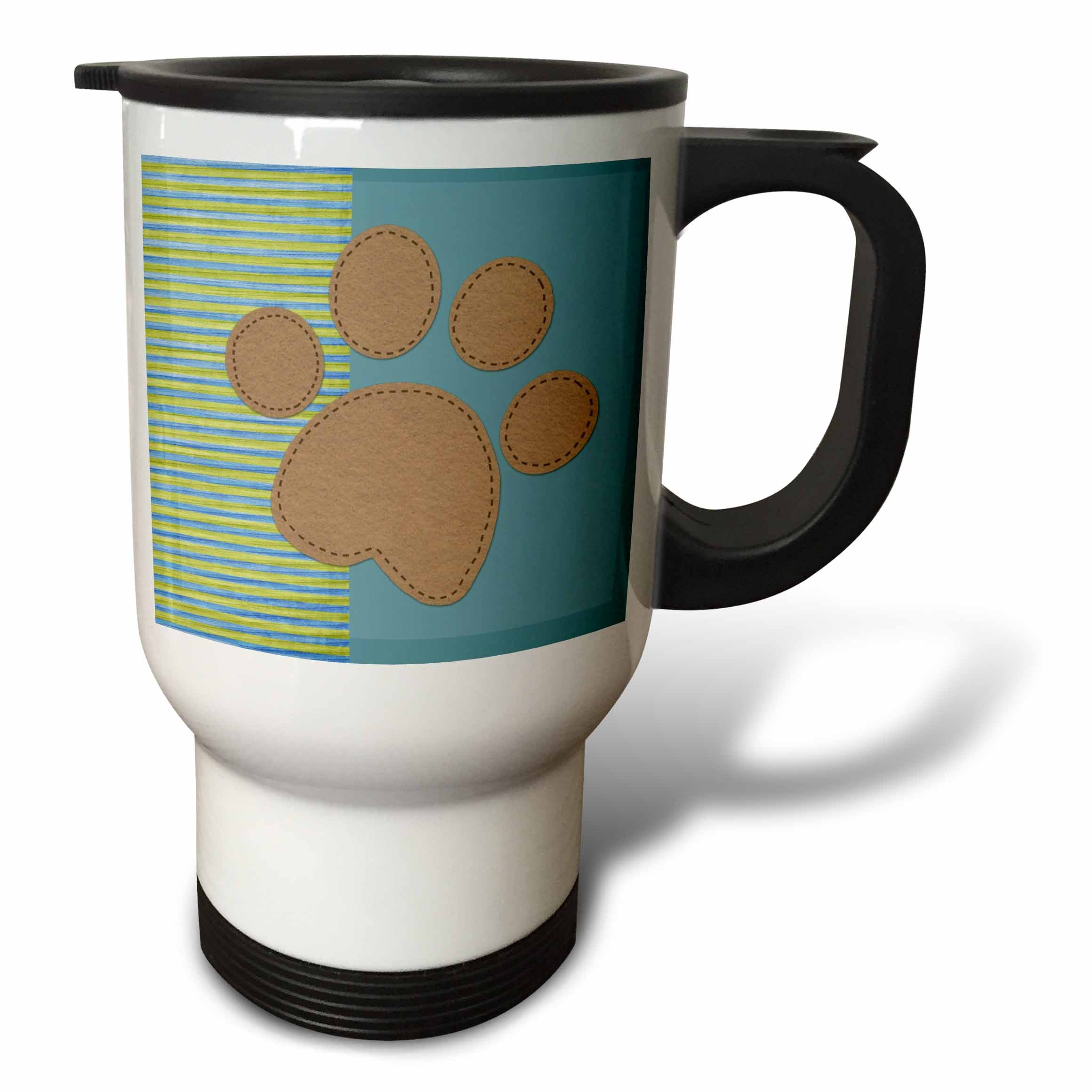 3dRose Stripes and Solids Paw Print-Fun Animal Art Stainless Steel Travel Mug, 14-Ounce