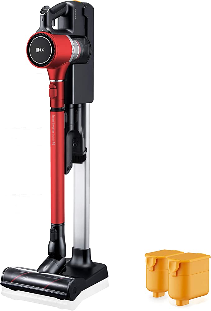 LG Cordzero A9 Charge, Cordless Stick Vacuum Cleaner with Two Batteries, for Carpet (A905RM), Matte Red
