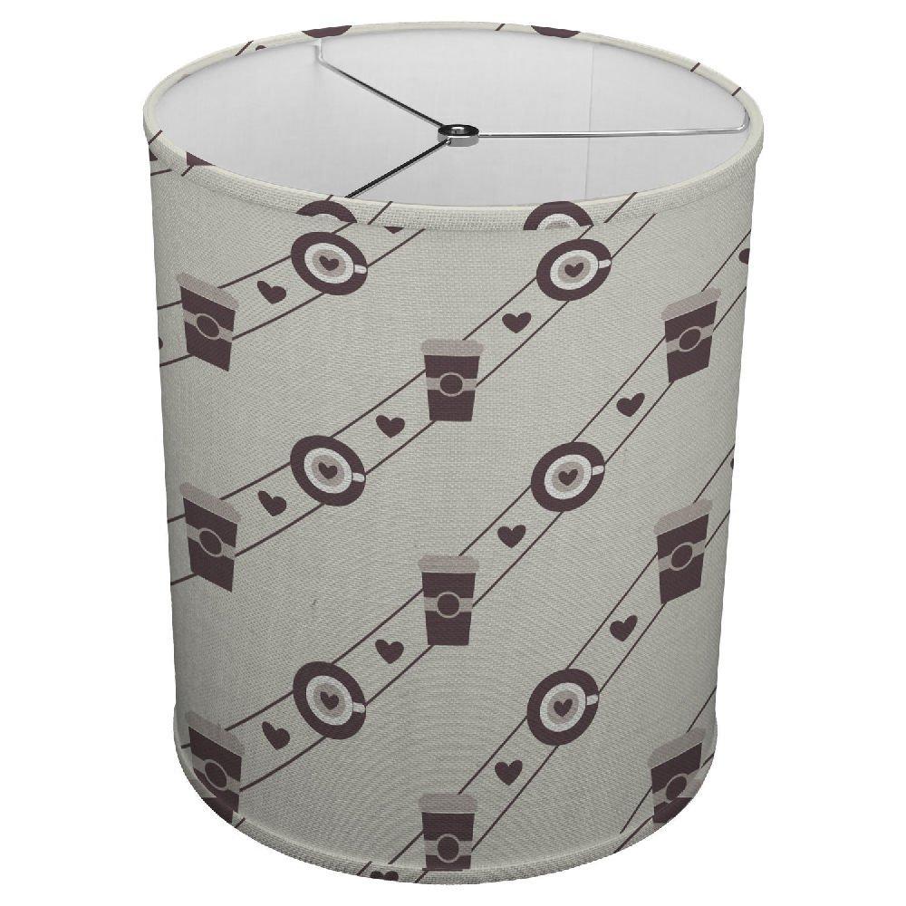 Hardback Linen Drum Cylinder Lamp Shade 8'' x 8'' x 8'' Spider Construction [ Coffee Street Heart Love ]