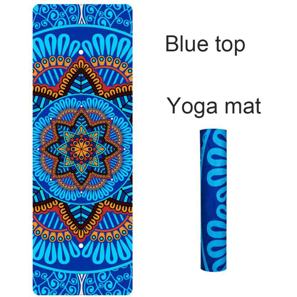 Amazon.com : 5 MM Lotus Pattern Suede TPE Yoga Mat Pad Non ...