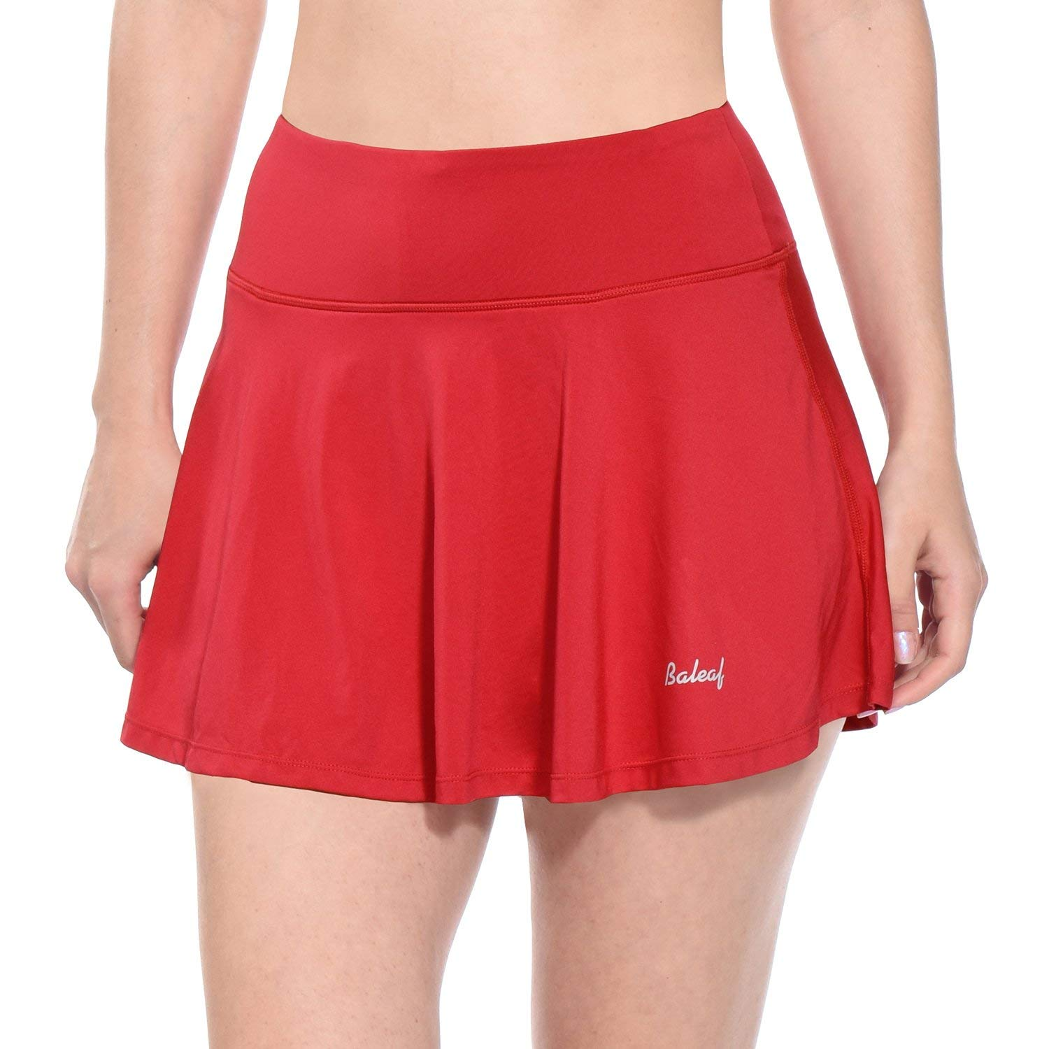 BALEAF Women's Athletic Skort Pleated Tennis Golf Skirt with Pockets Red Size XS by BALEAF