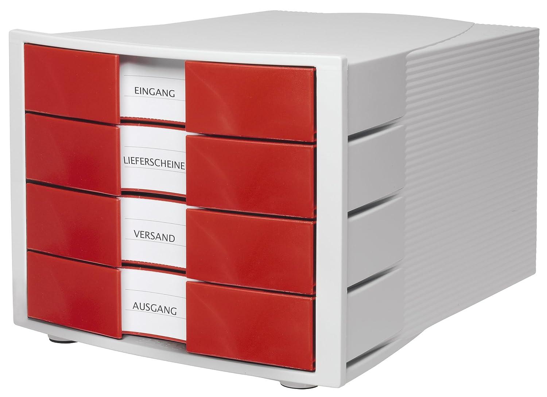 Han - Struttura portadocumenti da scrivania, con 4 cassetti chiusi, formato C4, linea Impulse Grigio/blu traslucido 1010-X-64 82397