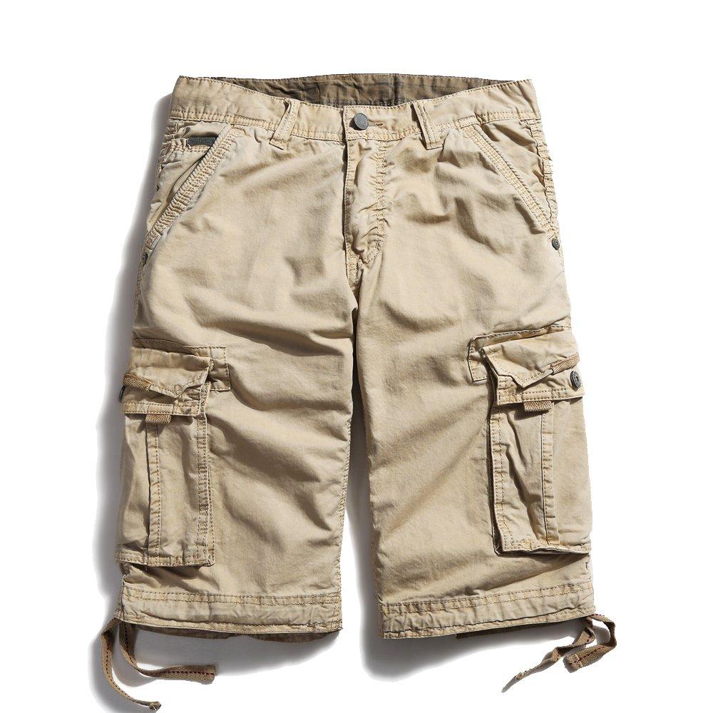 OCHENTA Men's Cotton Casual Loose Fit Cargo Shorts #3229 Khaki 44