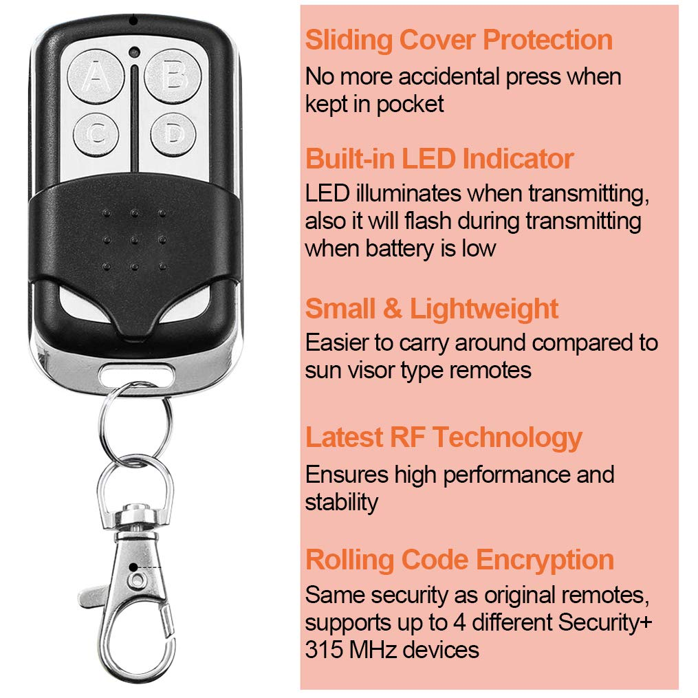 Compatible with Garage Door Opener with Purple Learn Button 315MHz ...