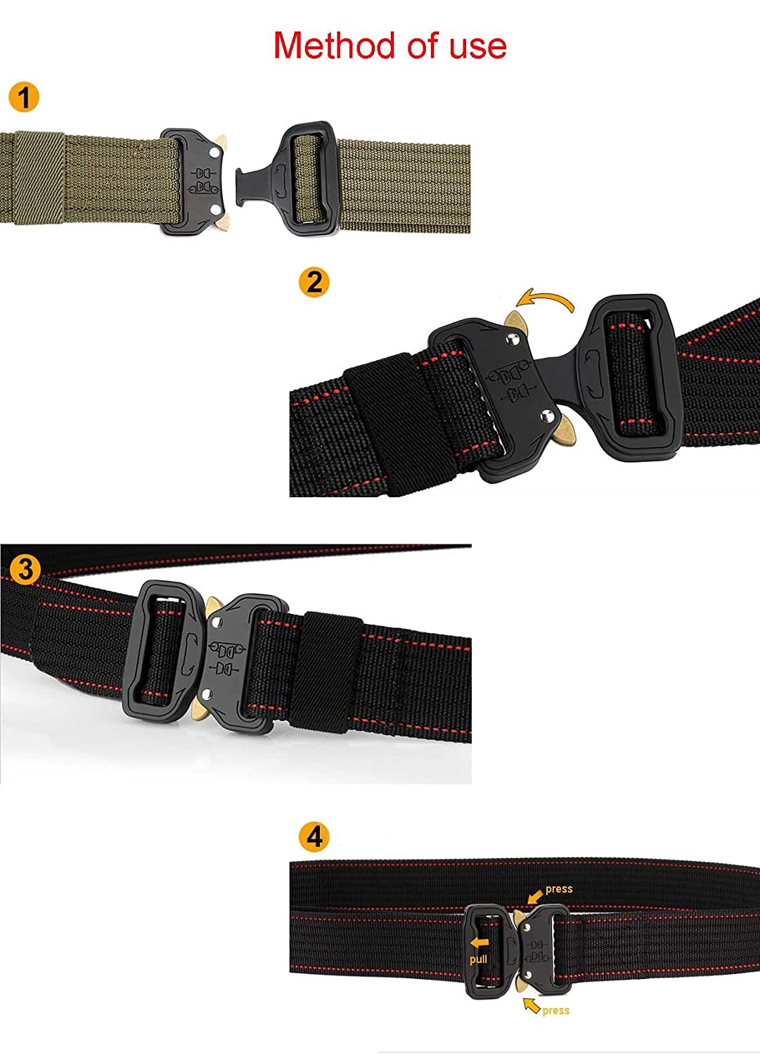Romanlin Mens Tactical Belts for Military Outdoor Heavy Duty Nylon Webbing Adjustable with Metal Buckle