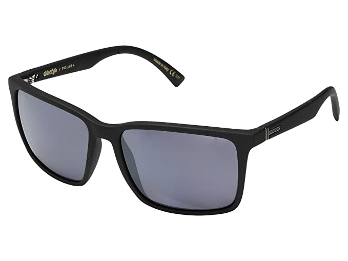 279d6f621b Amazon.com  VonZipper Lesmore Sunglasses Matte Black with Wildlife Silver  Flash Polarized Lens  Clothing
