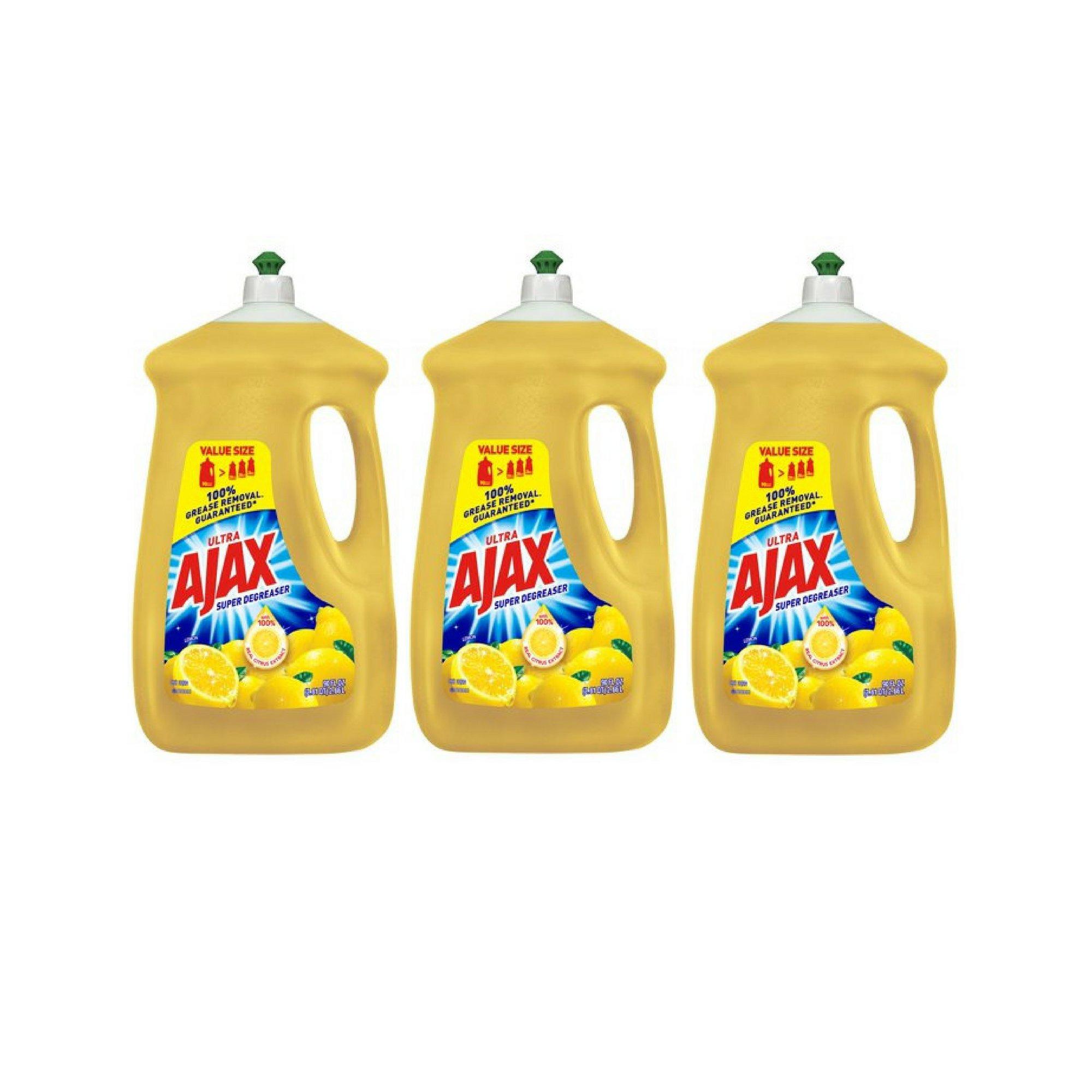 Ajax Ultra Triple Action Liquid Dish Soap, Lemon 90 fl oz - 3 Pack