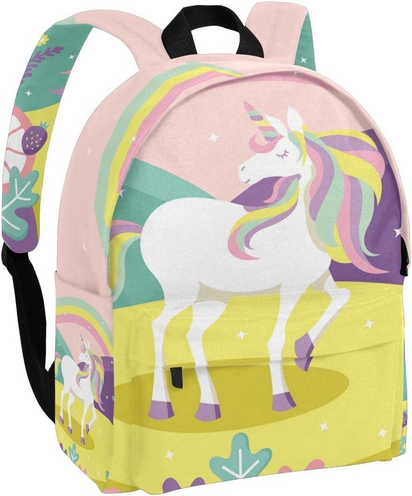 Unicorn Pony Horse Canvas Backpack Kids Girls School Bag Travel Shoulder Bag