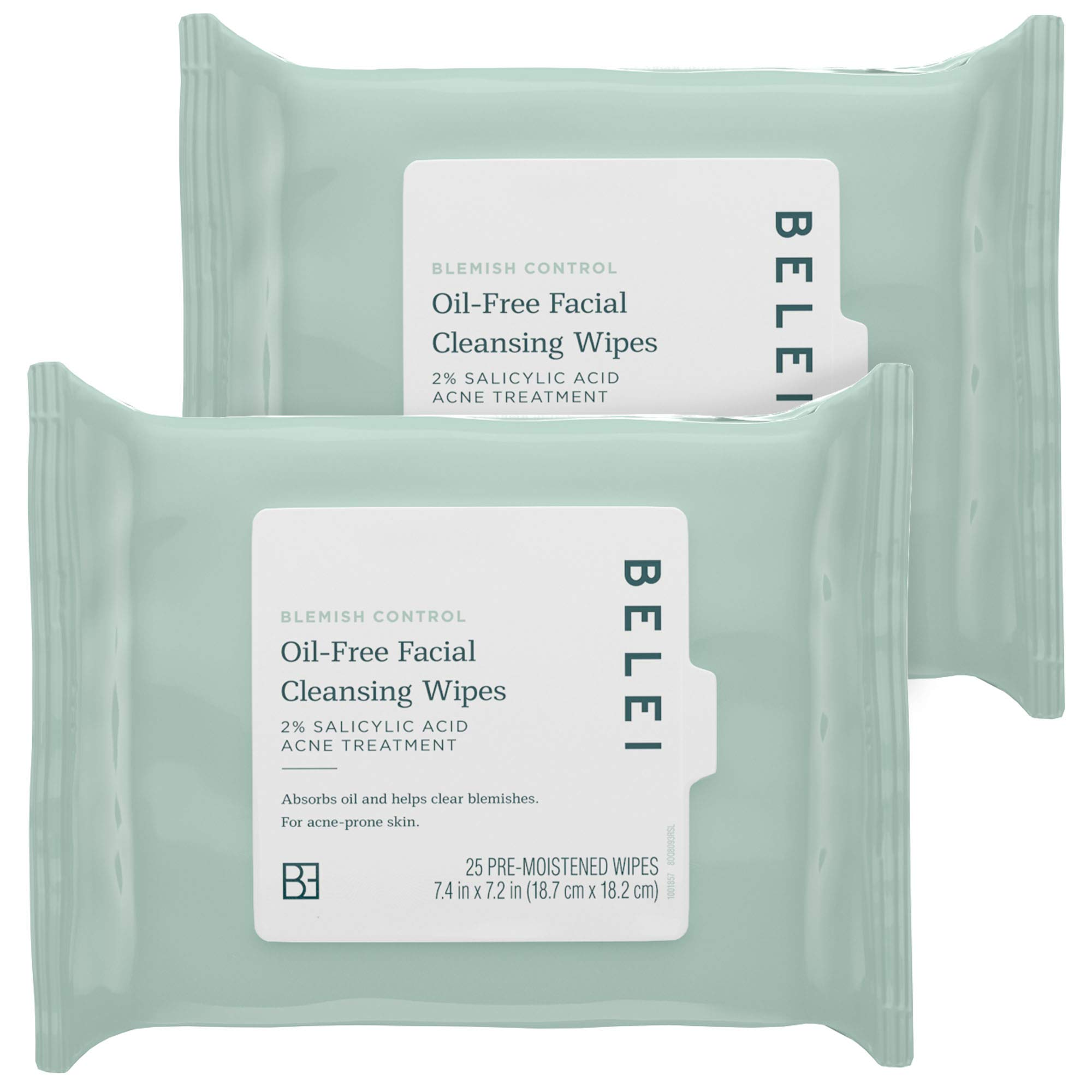 Belei by Amazon: Oil-Free Blemish Control Facial Cleansing Wipes, 2% Salicylic Acid Acne Treatment, Dermatologist Test, 25 Count (Pack of 2)