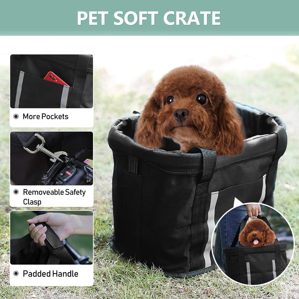 ANZOME Dogs Carrier Bike Basket, Handlebar Basket Folding Front Removable wiht Adjust Dog Seatbelts Bicycle Baset Quick Release Easy Install Detachable Cycling Bag Mountain Picnic Shopping by ANZOME (Image #2)