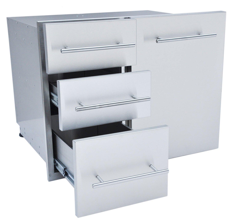 SUNSTONE DE-LPCTD30 Designer Series Raised Style Liquid Propane Combo Triple Drawer, 30'', Stainless Steel
