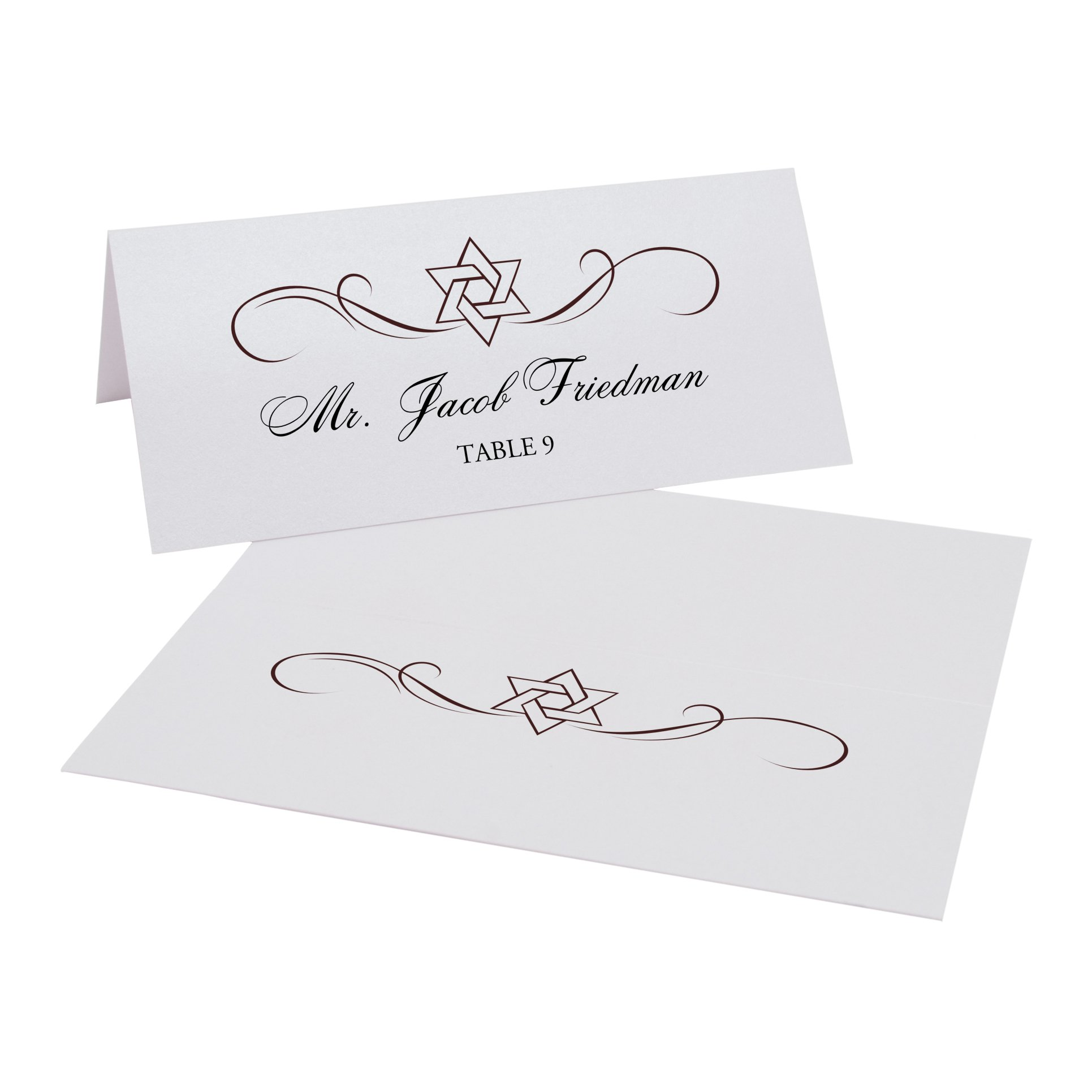 Intertwined Star of David Flourish Jewish Place Cards, Pearl White, Chocolate, Set of 375 by Documents and Designs
