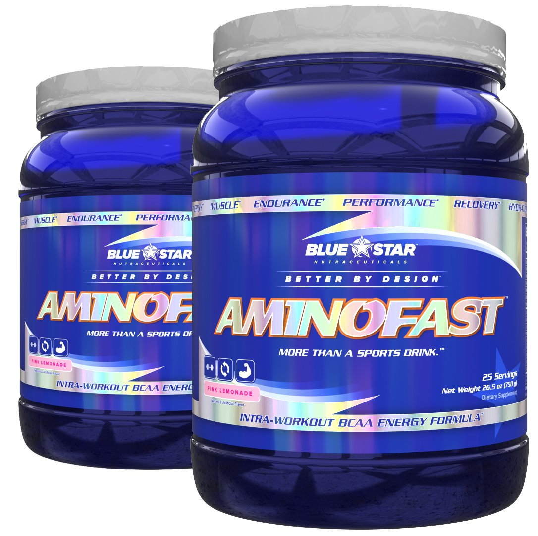 Blue Star Nutraceuticals Amino Fast - Performance, Muscle Recovery, Energy, and Endurance BCAA Powder (25 Servings) (2 Pack) (Pink Lemonade)