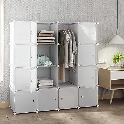 Amazoncom Tespo Portable Closet for Hanging Clothes Armoire