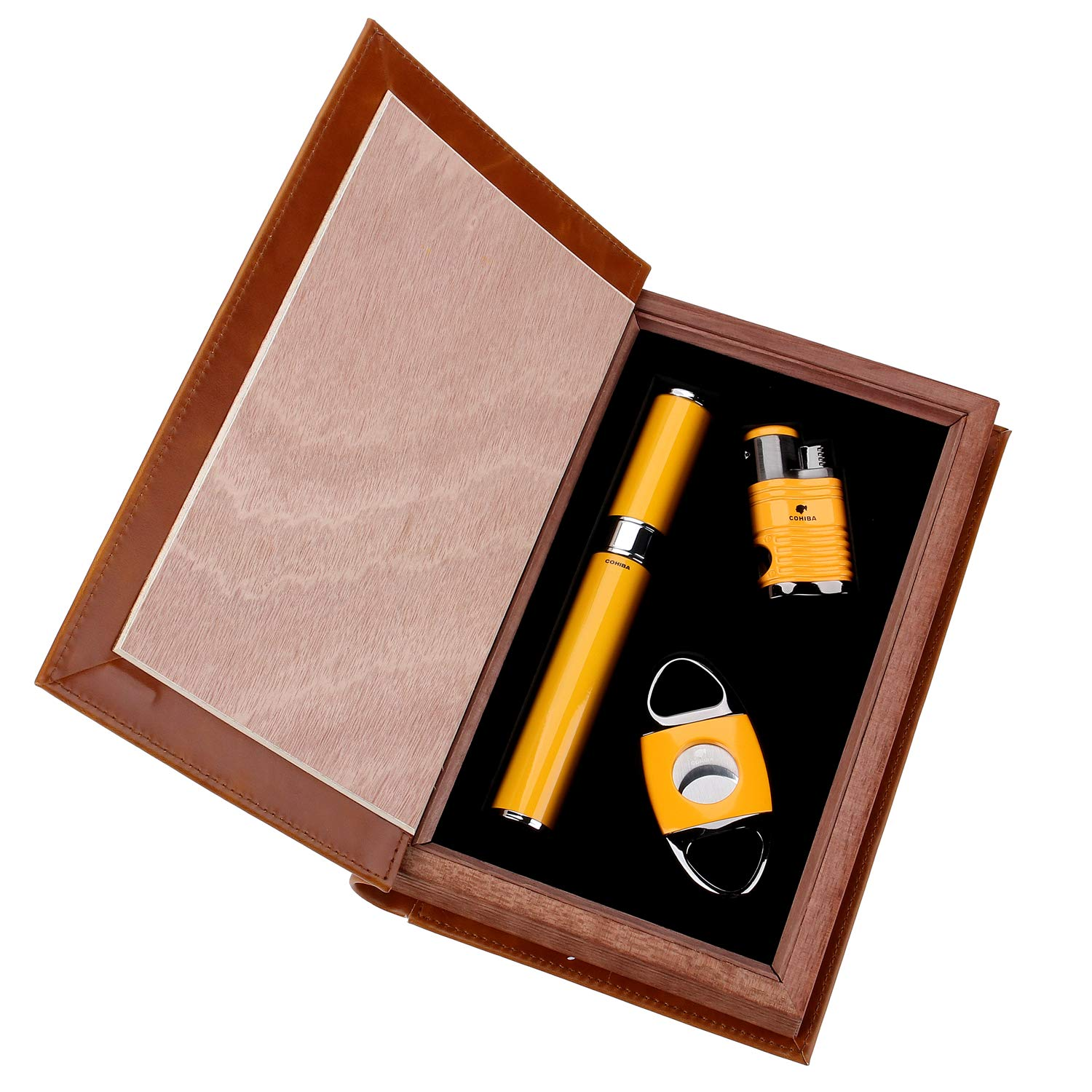 Cigar Lighter Cutter Set (3pcs/Set), 4 Torch Jet Flame with Punch and Cigar Cutter and Cigar Jar Tube,Packed with Nice Gift Box (Yellow)