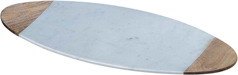 """Creative Home White Marble & Mango Wood 20"""" x 8"""" Oval Board"""