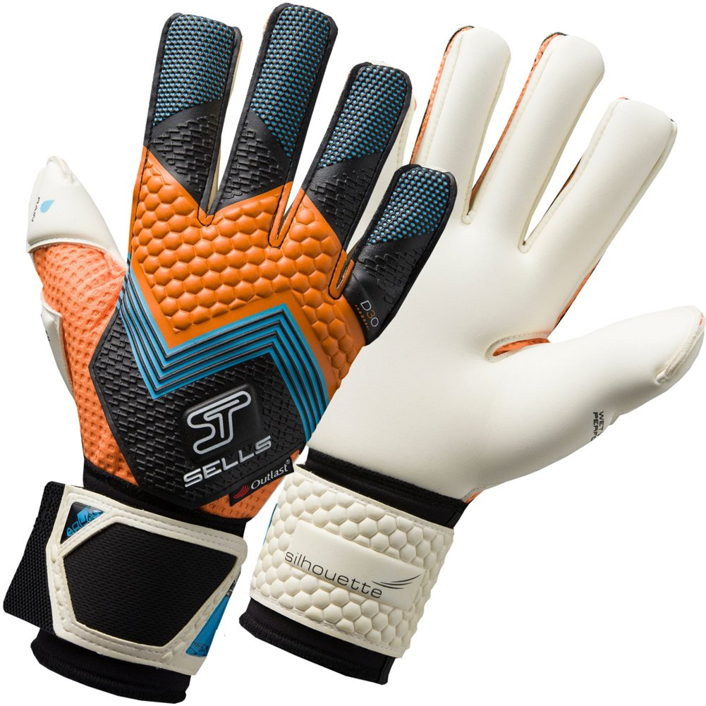 Silhouette Elite Aqua Goalkeeper Gloves - Weiß schwarz Orange Electric Blau - Größe 10.5