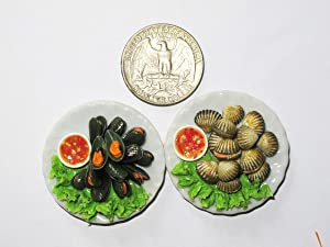 2 Lovely Mix Sea Food Dollhouse miniature Food,Tiny Food, Collectibles Scale 1:6