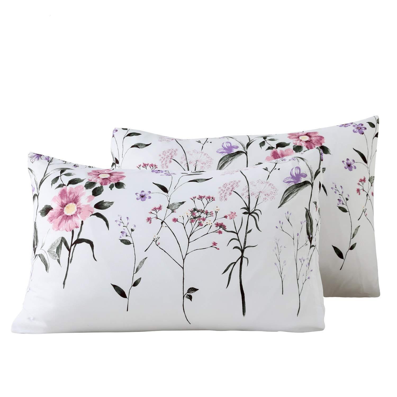 Carisder Floral Pillowcases 2 Packs, Stardard Size 100% Brushed Microfiber Ultra Soft Lightweight White Pillow Shams with Envelope Closure (Floral 1)