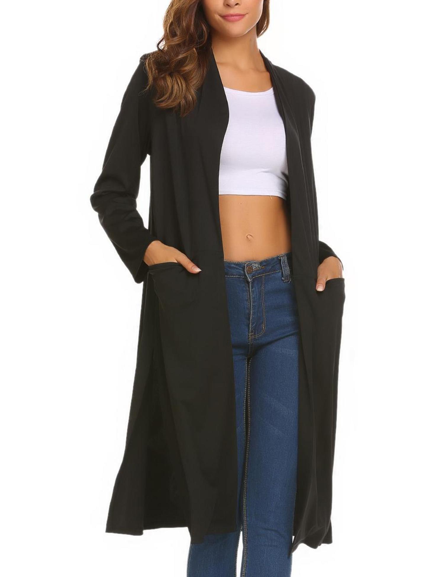 OD'lover Women's Solid Side Split Long Open Front Casual Cardigan Coat