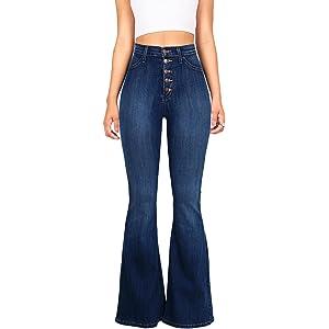 a58c6a64e576f9 URBAN K Women's Classic High Waist Denim Bell Bottoms Jeans at ...