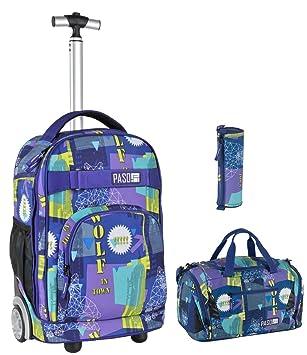 Rucksack Schulrucksack Set Mädchen Jungs blau mit Stiftetui  und Sporttasche