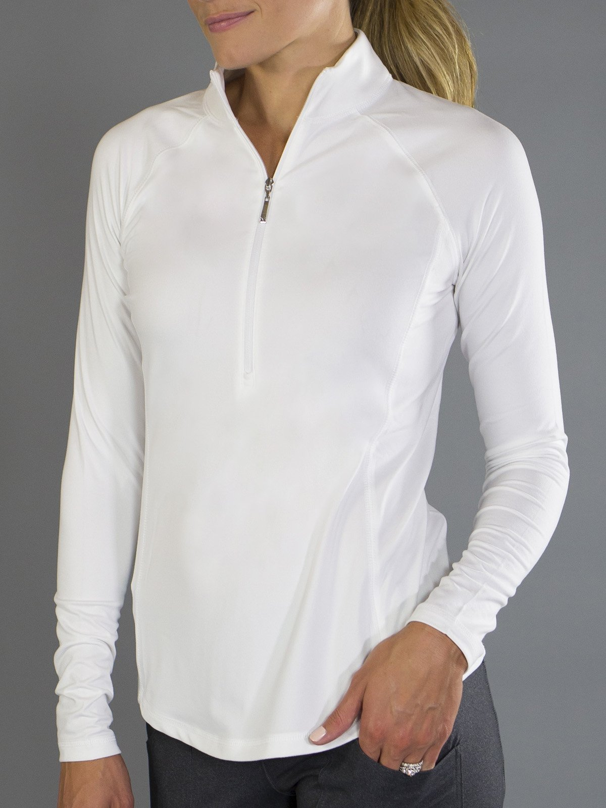 Jofit Brushed Long Sleeve Mock - White - XS