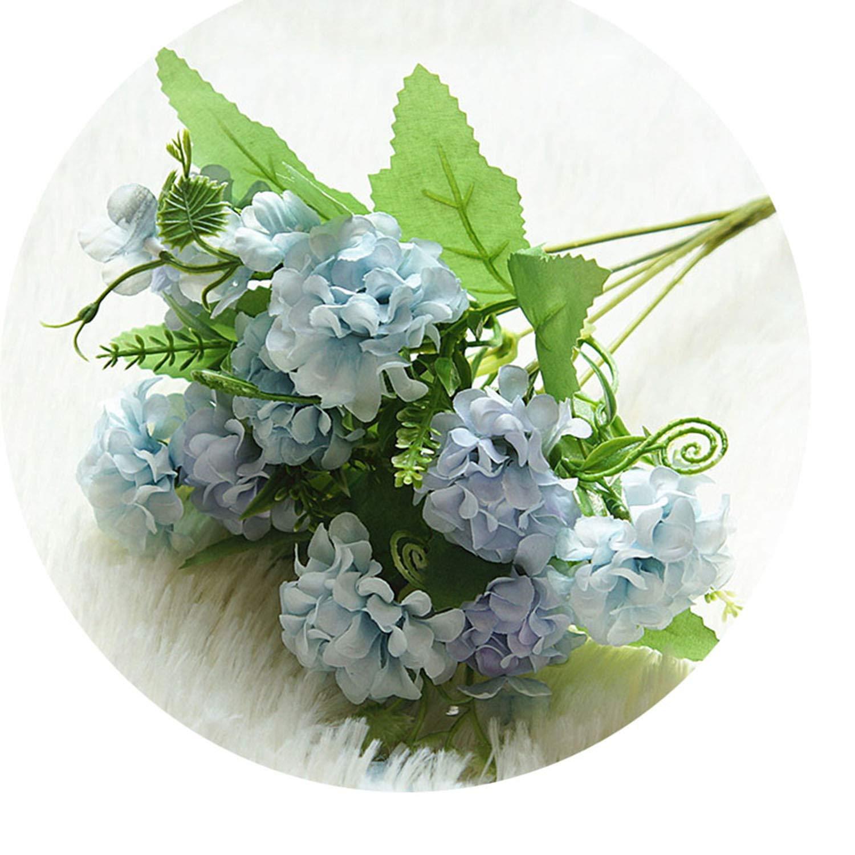 Hydrangea 9輪 造花 ボールバンチ 造花 シルク DIY ホーム装飾 造花 ウェディングデコレーション テーブルブーケ ブルー NA B07PV7KT6N ブルー