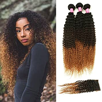 Amazon Com Mink Hair Ombre Kinky Curly Hair With Closure 10 12 14