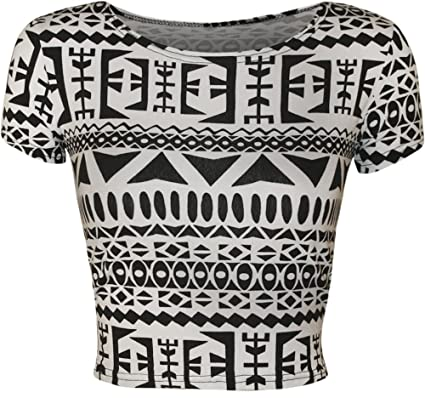 a88fe4eca71 ZEE FASHION New Womens Print Pattern Short Cap Sleeve Ladies Crop Stretch T-Shirt  Plain