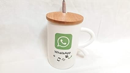 5e70d6ef719 Image Unavailable. Image not available for. Colour: KRsisodiya Enterprise  Whatsapp Logo Marked White Color Ceramic Coffee Mug with Wooden Lid ...
