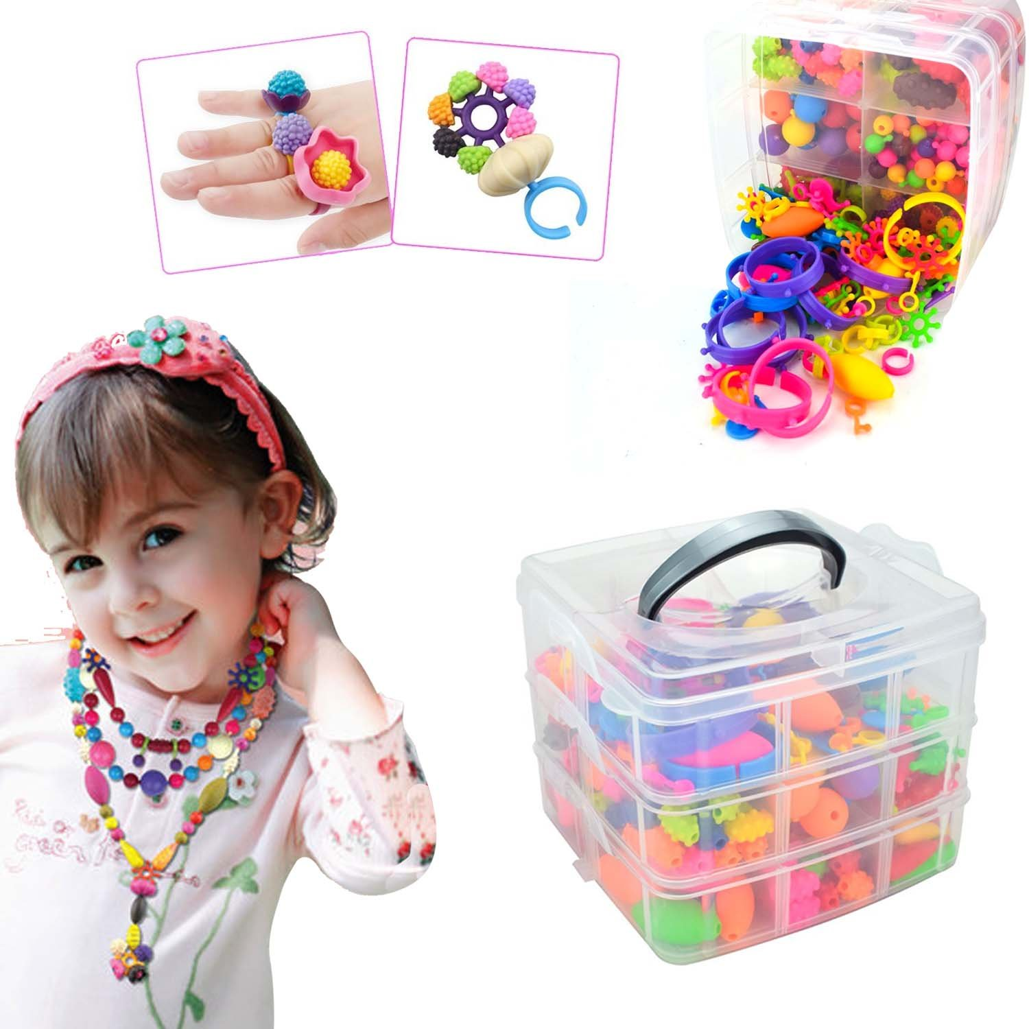 IAMGlobal 380 Pcs Pop Beads, Beads Snap, DIY Jewelry Making Kit, Fashion Kit, Party Favor Toys, Art Crafts Gifts, Educational Toys For Necklace and Bracelet and Rings For Kids Children Girls