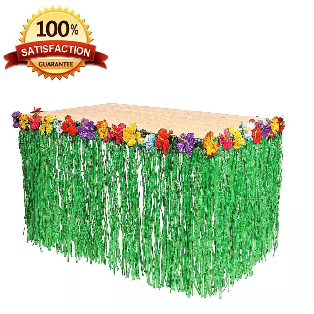 Giftown® 9ft Table Skirt Hawaiian Luau Hibiscus Green Table Grass Skirt, Party Decorations (1 Table Skirt)