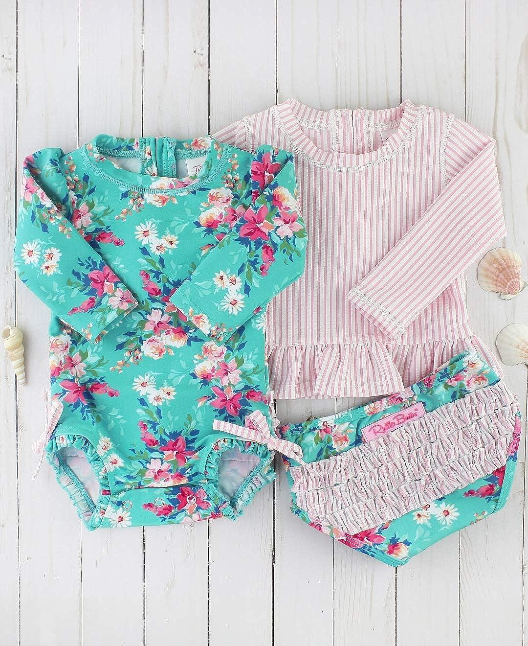 RuffleButts Baby//Toddler Girls Rash Guard 2-Piece Swimsuit Set Long Sleeve Bikini with UPF 50 Sun Protection RGSYYXX-PRLS-SC-BABY
