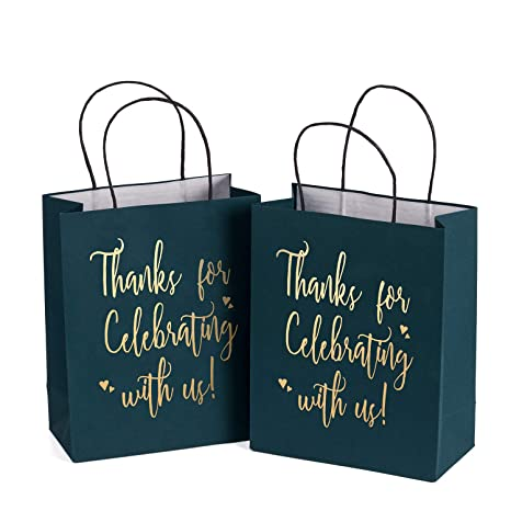 Amazon.com: LaRibbons Medium Size Gift Bags - Gold Foil ...