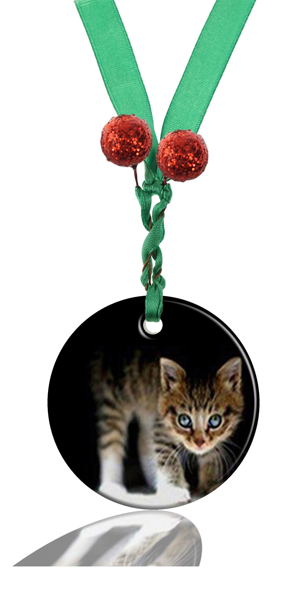 GDEE Custom Animal Cat Personalized Round Porcelain Ornaments Christmas Ornaments Home Decoration