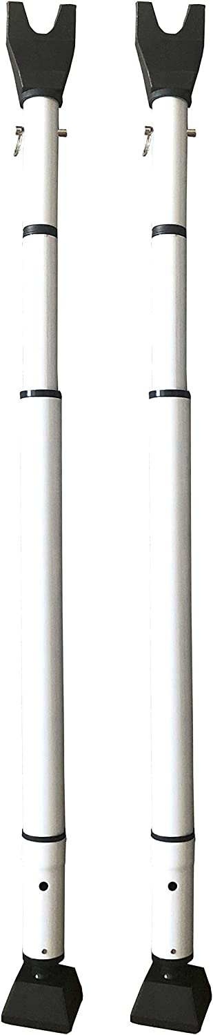 "Door Security Bar, 28"" Adjustable Length & Portable Stopper for Home and Office, Extra Safety During Travel - Set of 2, White"