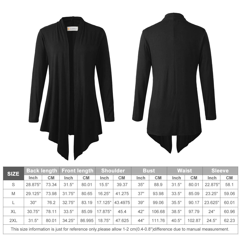 Eanklosco Women\'s Long Sleeve Drape Open-Front Cardigan Light Weight Irregular Hem Casual Tops (S, Black)