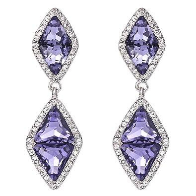 Clearine Women's Wedding Bridal Infinity Figure 8 Crystal Teardrop Chandelier Dangle Clip-On Earrings 2TeHaC8w
