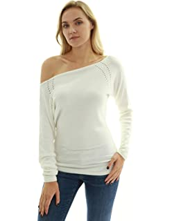 f7d054b447c PattyBoutik Women's on/off one shoulder Semi-sheer Sweater at Amazon ...