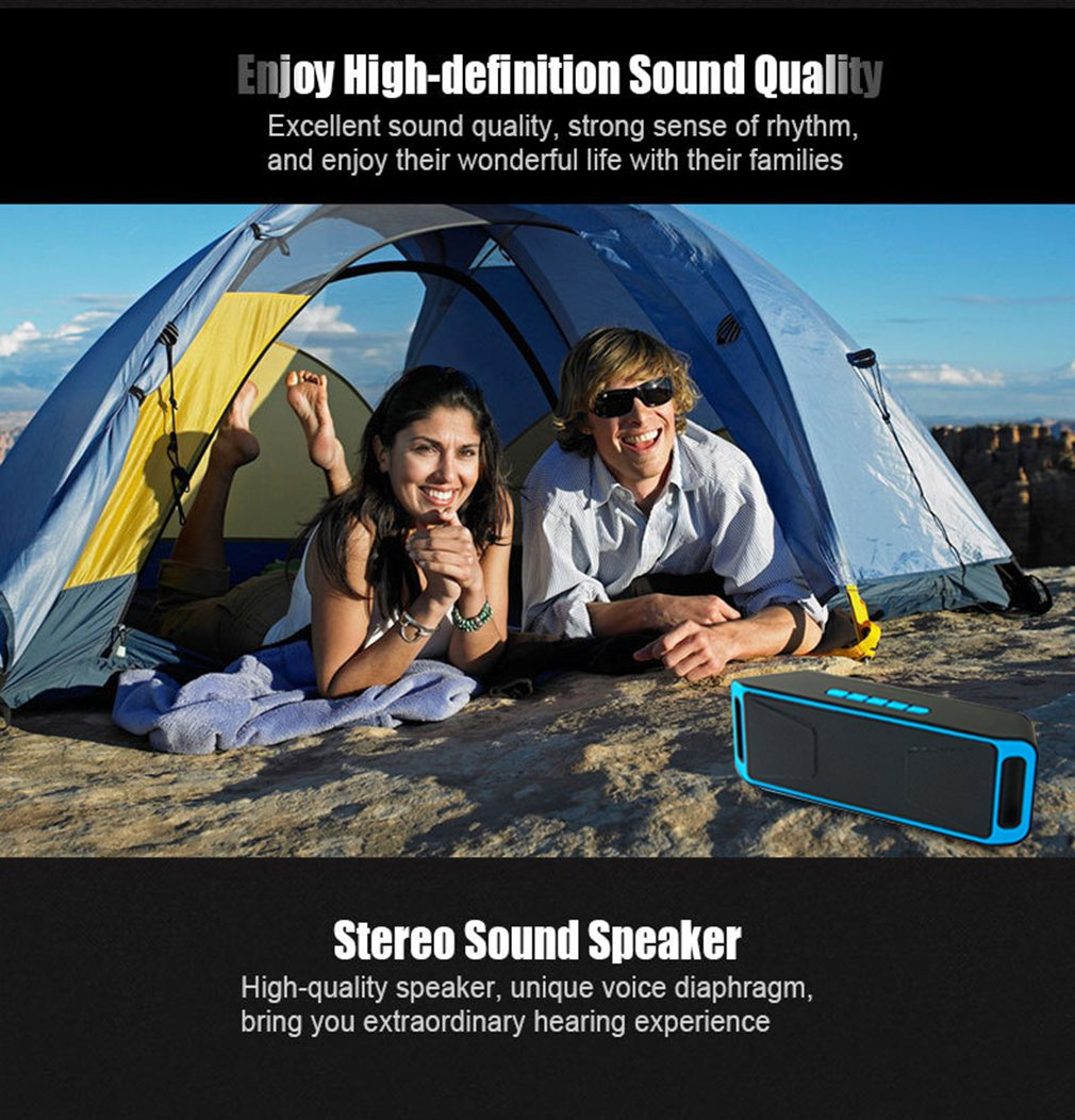 NEWBEING S5 Wireless Bluetooth Speaker, Outdoor Portable Stereo with HD Audio and Enhanced Bass, 12 hours Working, Handsfree Calling, FM Radio and TF Card Slot(Blue) by NEWBEING (Image #6)