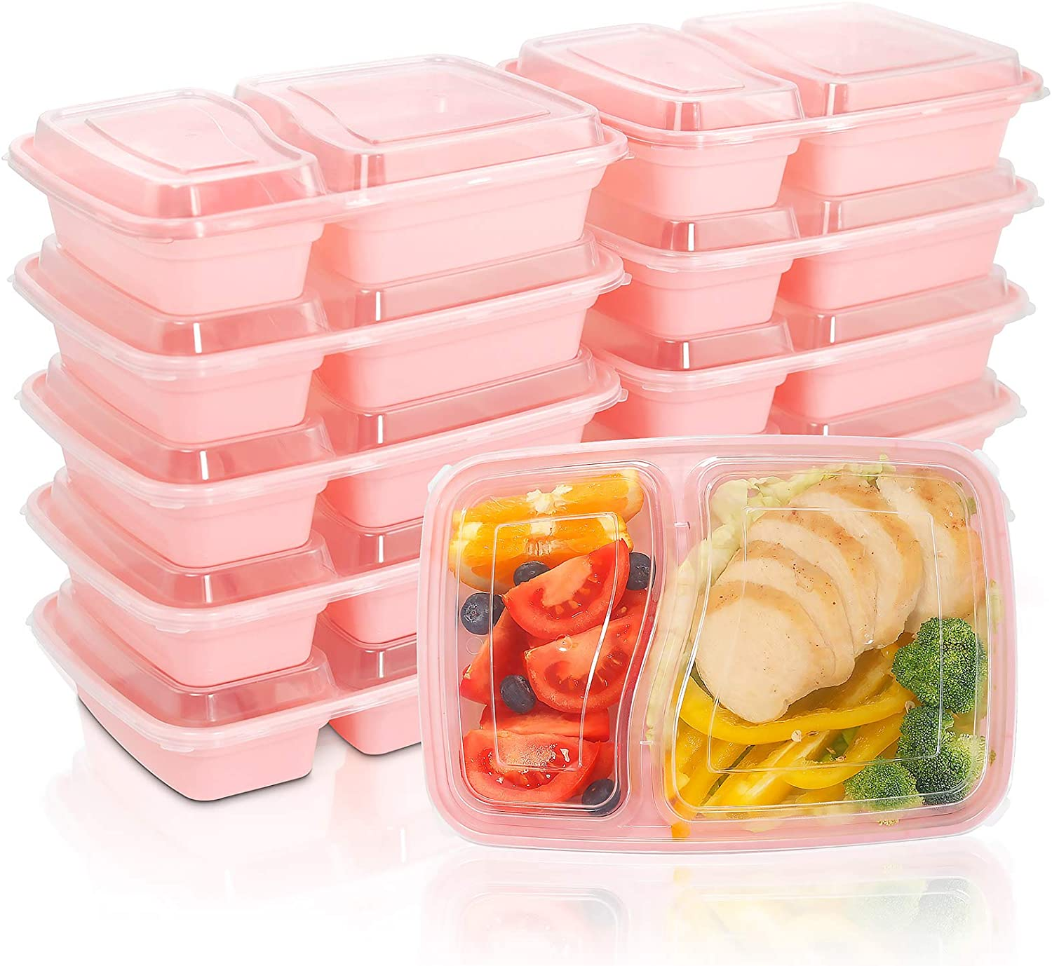 WELLIFE 60 Pack 28 OZ Meal Prep Containers 2 Compartment with Airtight Lids - Plastic Food Storage Pink Boxes - BPA Free - Plastic Reusable Boxes- Bento Boxes -Microwaveable, Freezer & Dishwasher Safe