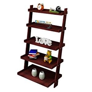 Custom Decor Leaning Bookcase Solid Wood Ladder Shelf & Organizer Storage Divider,5 Tier Country Display Shelf - Mahogany Colour(Indian Sheesham Wood)