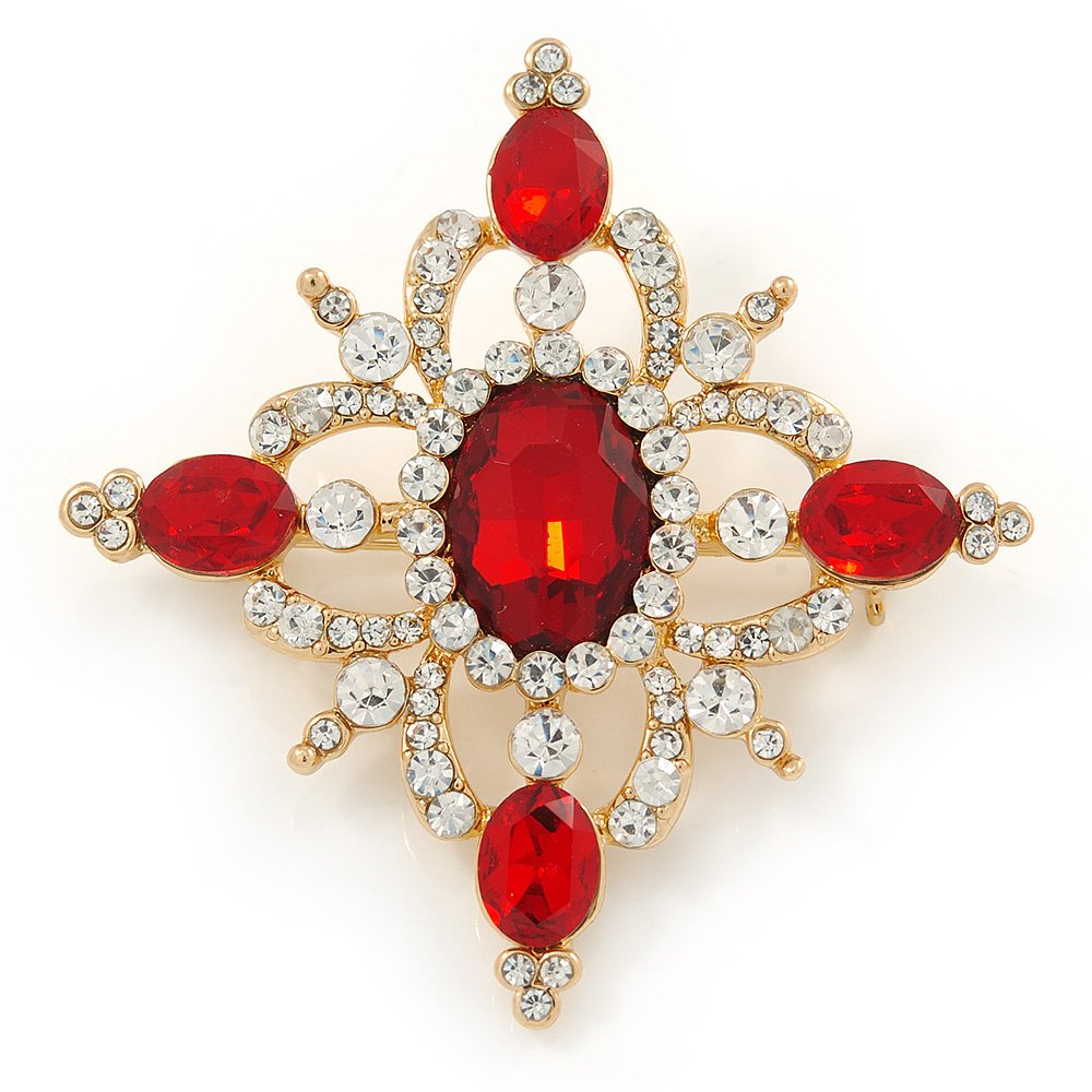 Avalaya Red//Clear Austrian Crystal Diamond Shape Corsage Brooch in Gold Plating 50mm L