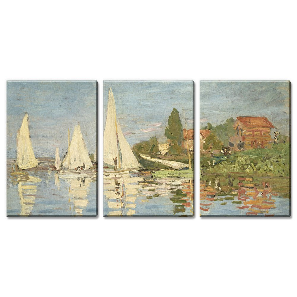 Sunset by Claude Monet 24x36x3 Panels wall26-3 Piece Canvas Wall Art The Cliff Modern Home Decor Stretched and Framed Ready to Hang Etretat